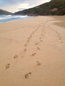 BVIs - Footprints on Beach