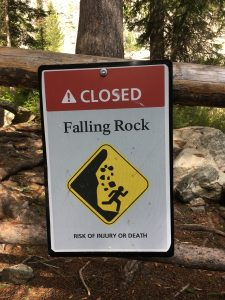 """Closed - Falling Rock"" sign"